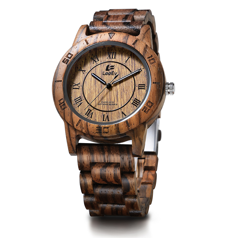 LeeEv EV2075 Mens Wood Watch for Men HandCrafted Zebra Sandal Wood Vintage Wooden Watches Mens Gifts orient часы orient etab007w коллекция classic automatic