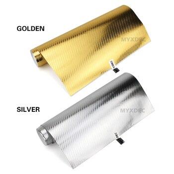 152*30CM vinilo 3D de fibra de carbono película protectora de coche pegatina de la motocicleta decoración oro/galvanoplastia de plata pegatinas de estilo de coche