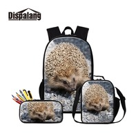 Hedgehog Canvas Backpack for Children Insulated Cooler Pouch Girl Messenger School Bag Animal Lunch Box with Pencil Case for Boy