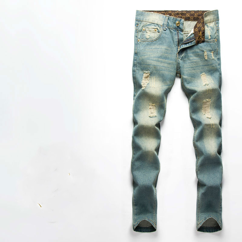 Fear Of God Jeans Mens Knee Hole Kanye West Side Zipper Slim Distressed Jeans Knife Cut Ripped Jeans For Men Freeshipping футболка мужская dan jieshi 2015