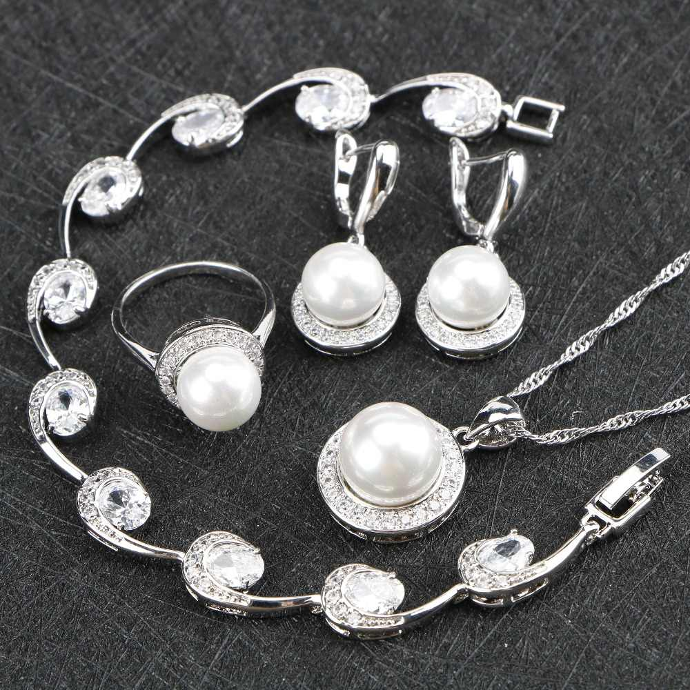 Silver 925 Jewelry Pearl Zirconia Wedding Jewelry Sets Gift For Women Pearls Necklace Pendant Stone Earrings Rings Bracelets Set