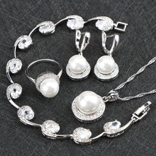 цена на 925 Silver Jewelry Sets White Simulated-Pearl White Stones CZ For Women Necklace Pendant Earrings Rings Bracelets Wedding sets