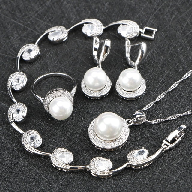 Silver 925 Jewelry Pearl Zirconia Wedding Jewelry Sets Gift For Women Pearls Nec