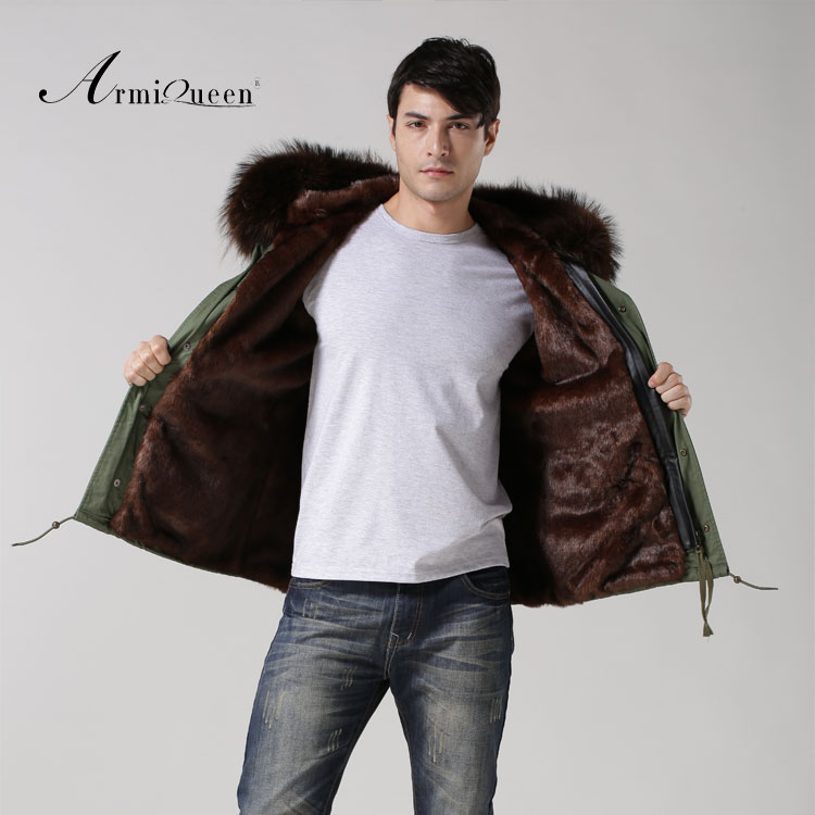 Coffee color short style hotsale fake fur lining man parka with real raccoon fur hood