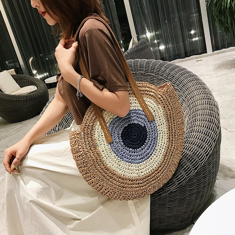 <font><b>REREKAXI</b></font> Round Women Handbag Handmade Shoulder Bag Bohemian Summer Beach Bags Woven Straw Bag Large Capacity Female Travel Tote image