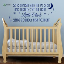 YOYOYU Wall Decal Goodnight Said The Moon Boys Personalised Nursery Bedroom Vinyl Repetable Sticker  Art YO129