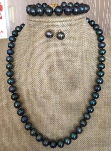 Set di 9-10mm di tahiti nero perla verde collana/baracelet orecchino 18 pollici 925 argentoSet di 9-10mm di tahiti nero perla verde collana/baracelet orecchino 18 pollici 925 argento
