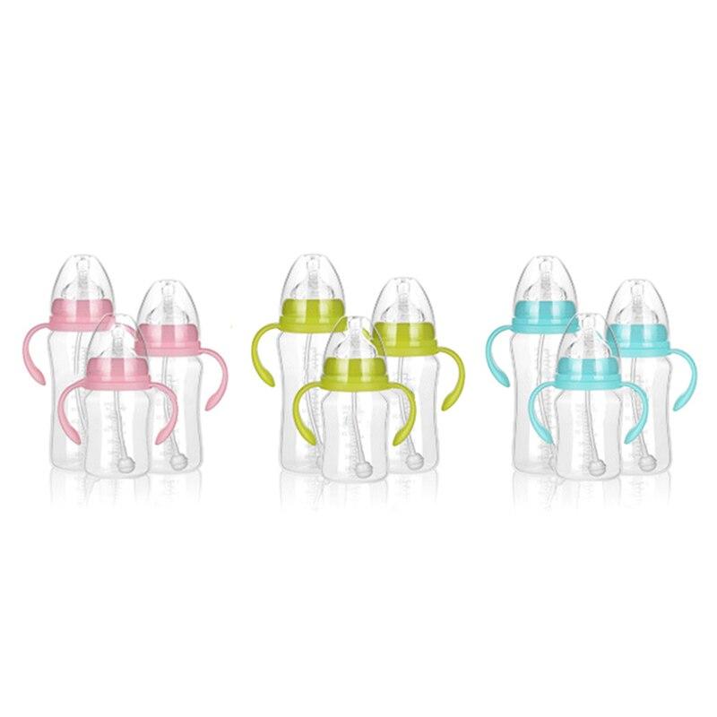 Zielsetzung Breiten Mund Baby Infant Kinder Automatische Pipette Stroh Schnuller Nippel Milch Fütterung Flasche/non Slip Griff & Tasse Abdeckung ZuverläSsige Leistung Fütterung
