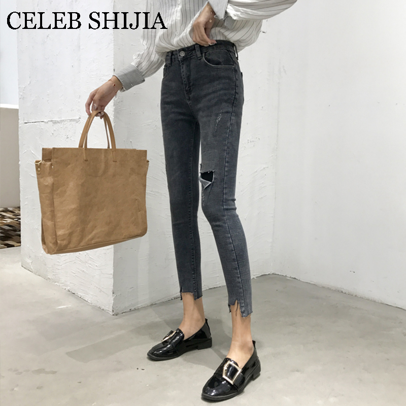 2019 New Korea Fashion Jeans Woman High Elastic Slim Sexy Hole Pencil Pants Street Wear High Waist Denim Spring Autumn