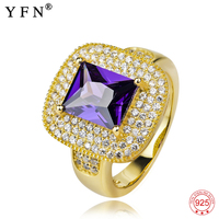 GNJ0262 YFN 100% Real 925 Sterling Silver Ring Luxury Purple Crystal Gold Rings Romantic Fashion Jewelry Wedding Christmas Gift