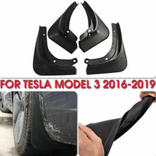 все цены на 4Pcs/Set Fashion Tire Front Rear Dirt Car Mud Flaps Splash Mudguard Fixing Screw Auto Protective Modify for Tesla Model 3 онлайн