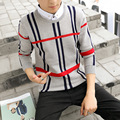 Autumn and winter fashion mens false two shirt young slim stripe knit quality on behalf of the explosion