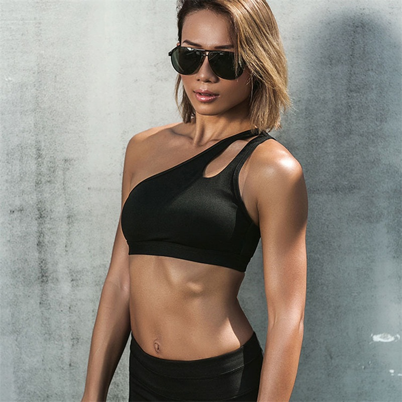 2017 new Womens High Impact Personality oblique shoulder strap Sports Bra Women running fitness Bra Top clothes