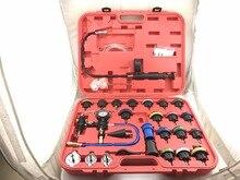 28 pcs Universal Kit Verificador de Pressão Do Radiador Cooling System Tester Testador de Vazamento Do Tanque de Água Tanque De Água Vazamento Testador