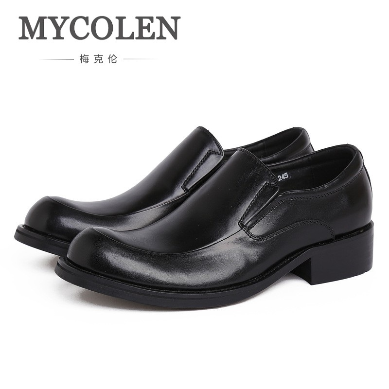 MYCOLEN New Low Shoes Mens Genuine Leather Men Shoes Slip On Comfort Men Formal Shoes Zapatos De Hombre De Vestir Casual branded men s penny loafes casual men s full grain leather emboss crocodile boat shoes slip on breathable moccasin driving shoes