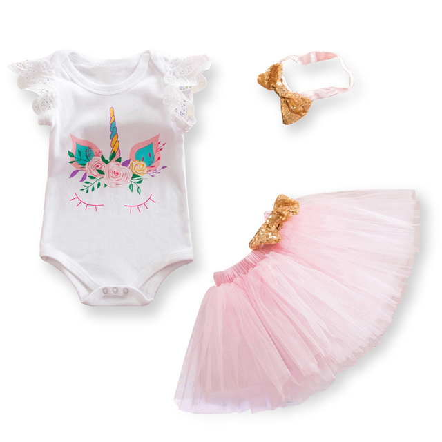 9af4c05fa Fancy Baby Girl 1st Birthday Unicorn Party Outfit Sets Summer Toddler Girls  Clothes Tulle Photo Shoot Costume For Kids 12 Months-in Clothing Sets from  ...