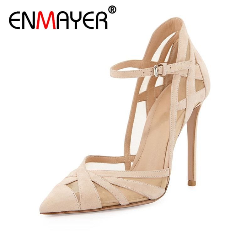 ENMAYER Summer Women Party Fashion Pumps Shoes Ankle Strap Pointed Toe Buckle Strap Thin Heels Large Size 34-43 Beige Black womens fashion handmade ankle strap pointed toe party wedding flats shoes cke119