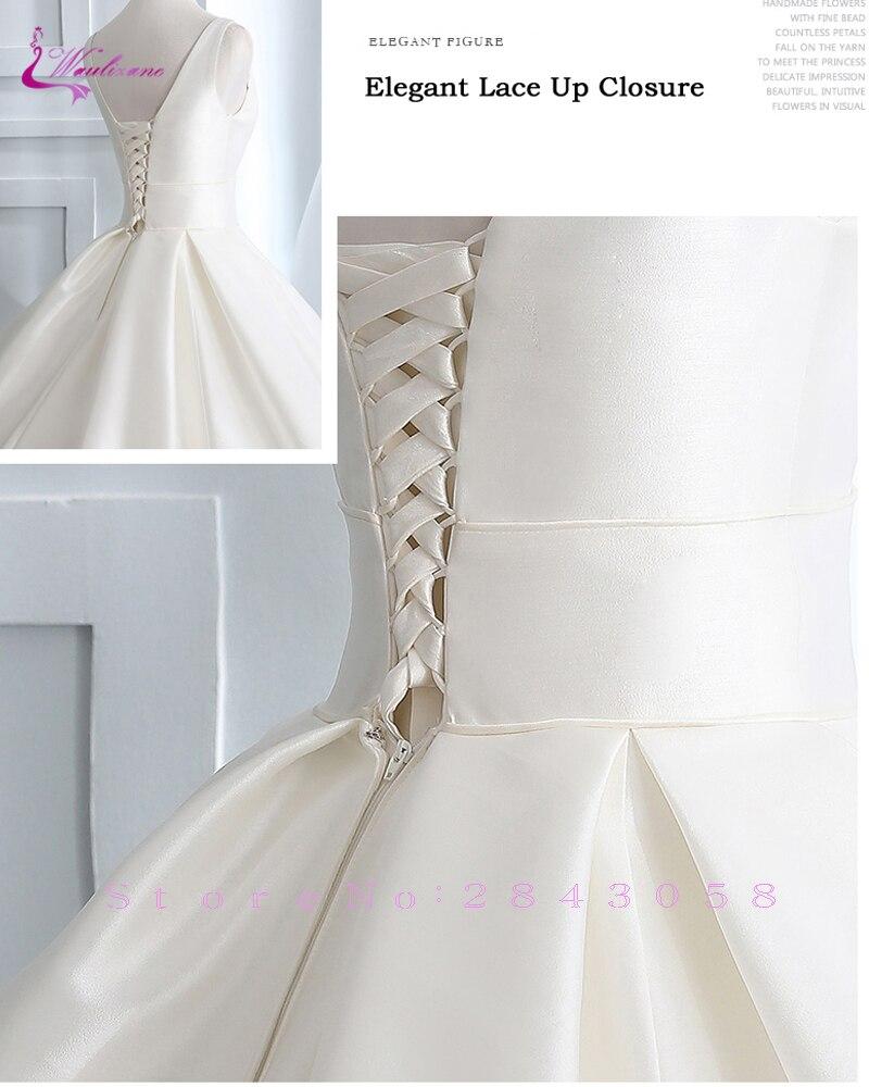f225da53a32f3 Waulizane Luxurt Pure Satin Elegant A Line Wedding Dresses With Deep  V-Neckline Wedding Gown Lace Up Closure