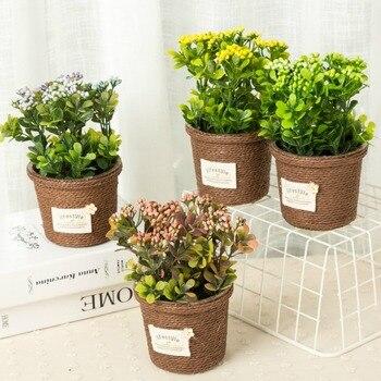 2 Sztukpartia Nowy Mody Wysoka Imitacja Sztuczny Kwiat Ceramiczne Doniczki Bonsai Miniascape Rys Roślin Domu I Sklep Dekoracji Kwiat