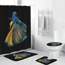 4PCS/Set Marine Life Printing Bath Set Non-Slip Lavatory Polyester Set Waterproof Shower Curtain Toilet Cover Set Bathroom Decor(China)