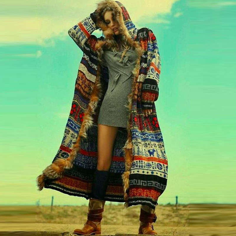 BOHOFREE Winter Long Coats Fake Furs Long Sleeve Runway Bohemian Style Boho Fashion Women Jacket Coats Outerwear Coats