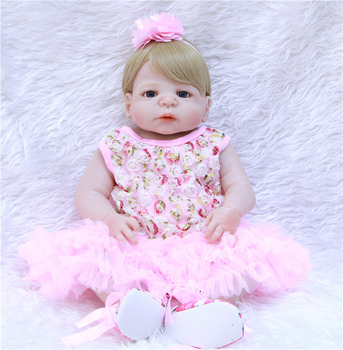 "22"" 55cm Full Body Silicone Reborn Baby Doll Toys Lifelike real Baby-Reborn Girls Baby Doll Child bebe gift bonecas reborn"
