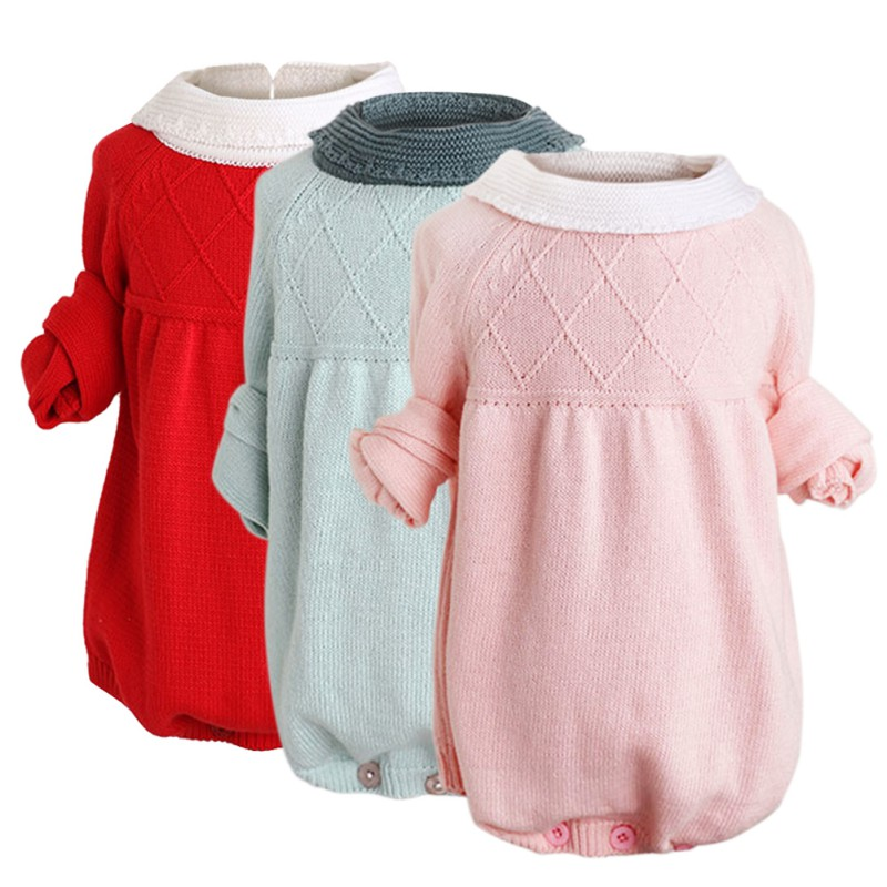Beautiful Sweet Wind Long Sleeves Knit Siamese Dress Open Gear Sweater Triangle Climbing Dresses Baby Girl Clothes