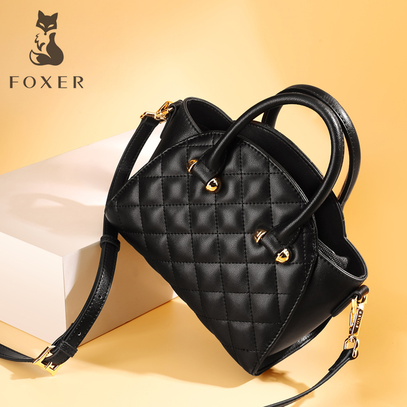 FOXER Brand Women's Leather Crossbody Bag&Handbag Fashion Female Totes Shoulder Bag High Quality Handbags New Trend Qulited Bag foxer brand women s leather handbag fashion female totes shoulder bag high quality handbags