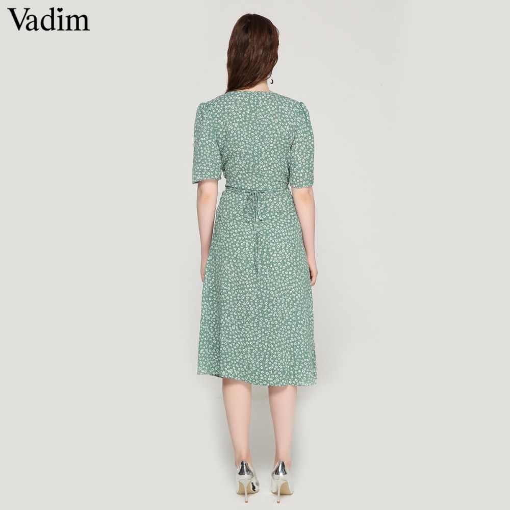 110ee8208a2e ... Vadim vintage floral print wrap dress V neck bow tie sashes short  sleeve female streetwear chic ...