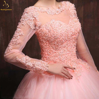 2018 Cheap Quinceanera Dresses Long Sleeve Ball Gown Lace Up Sweet 16 Dress For 15 Years Formal Prom Party Pageant Gown QA1268