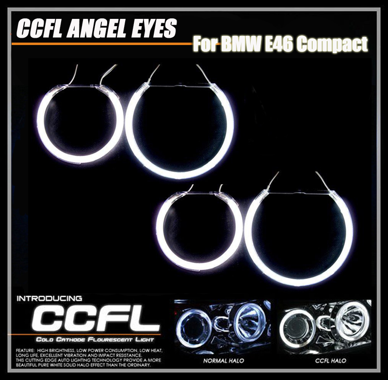 High brightness 8000k CCFL Angel Eyes Kit Halo Rings Headlamp For BMW E46 Compact with 4 ccfl halo rings and 2 ccfl inverter for uaz patriot ccfl angel eyes rings kit non projector halo rings car eyes free shipping