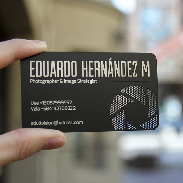 Black Color Metal Plate Etching Metal Stainless Steel Business Card With Matte