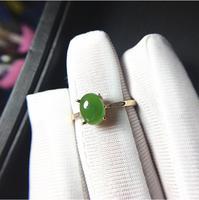Настоящее 18 К золотые кольца естественный золотистый Хотан нефрита кольца камень 6*8 мм