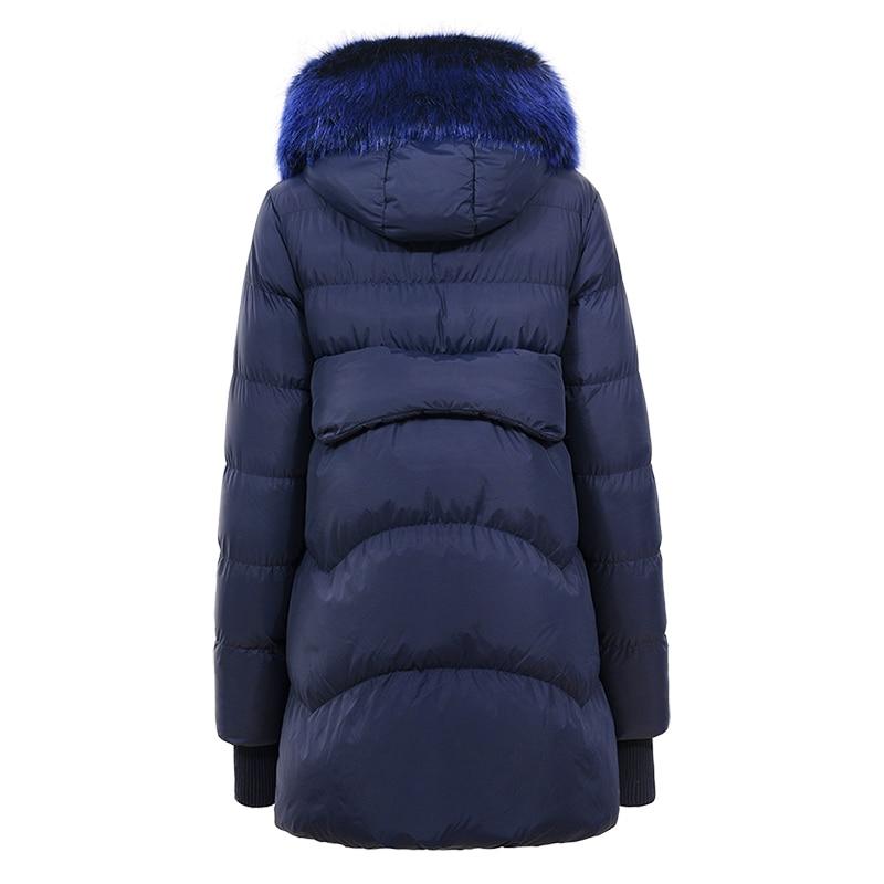 Dark Poches Tops Épais Dames Parka Et Chaud Coréen 2018 Faux Femmes Manteaux Glo Blue story Manchette Vestes Col Fourrure Nervure Avec D'hiver 6RxFU