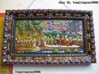 Тибет Буддизм дерева ручной работы вырезать росписью 24 К Золотой Будда дизайн экран Tangka