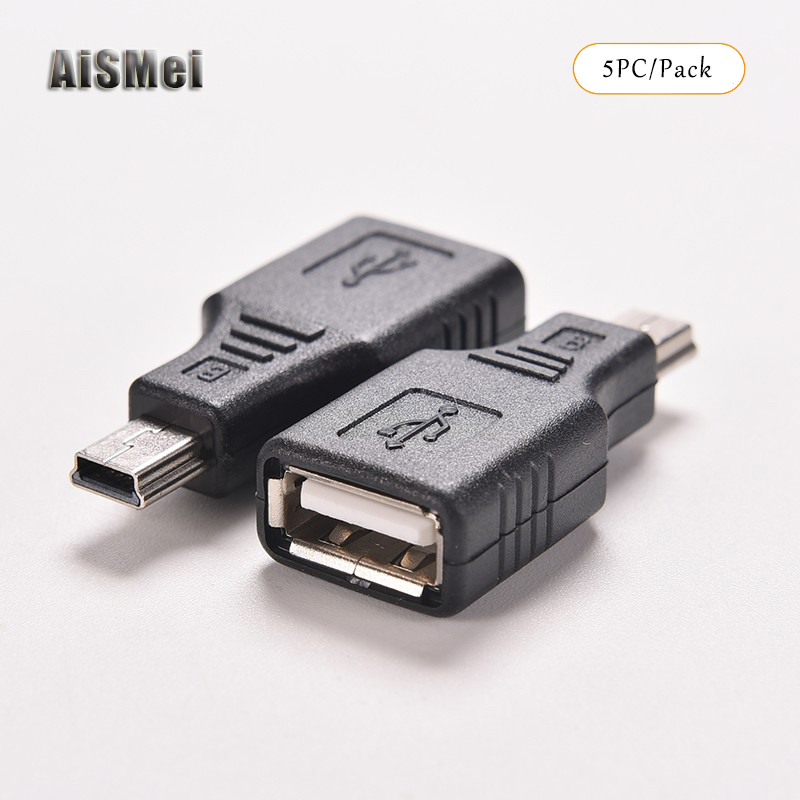 AiSMei 5pcs F/M USB 2.0 A Female To Micro / Mini USB B 5 Pin Male Plug OTG Host Adapter Converter Connector up to 480Mbps