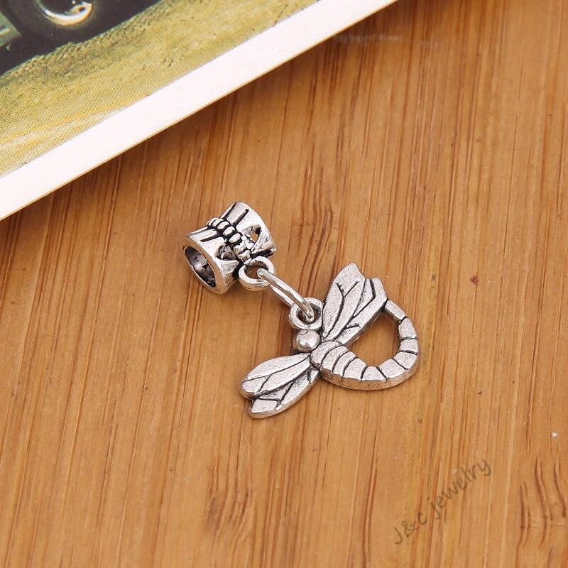 56e170b5d4c2 15 unids vintage plateado grande del agujero del grano apto Pandora encanto  libélula colgantes para la joyería europea de la pulsera DIY 28116