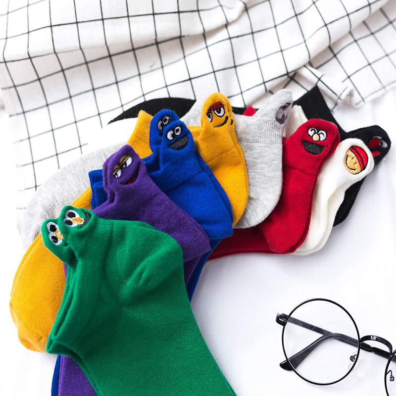 Kawaii embroidery expression female   socks   happy fashion Harajuku fins funny   socks   ladies cotton summer 1 double candy color