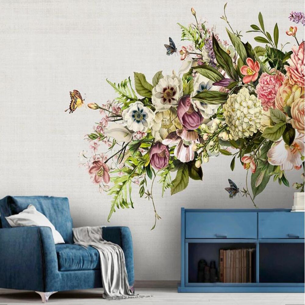 Modern Chinese Flower Bird Wallpaper Mural 3d Printed Photo Wall
