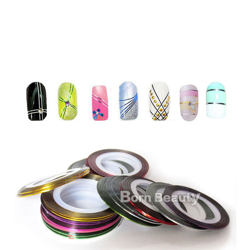 Image 2 - 10pcs/pack Mixed Colors Nail Decals Round Nair Art Decoration Creative Line Sticker Press On Nails DIY Manicure Accessories-in Stickers & Decals from Beauty & Health