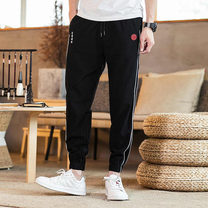 MR-DONOO Chinese Traditional Casual Jogger Pants Men Striped Full Length Sweatpants Casual Ankle-tied Pants  QT4015-K06