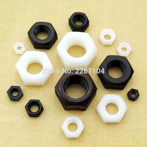 25pcs Brand New Black White Nylon Plastic Insulation Metric Thread Hex Hexagonal Nut For M2 M3 M4 M5 M6 M8 M10 M12 Bolt Screw