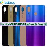 Para Huawei Nova 3e P20 Lite trasera de la batería cubierta trasera vivienda puerta de la caja de vidrio para reemplazar Huawei P20 Lite Nova 3 de la cubierta de la batería