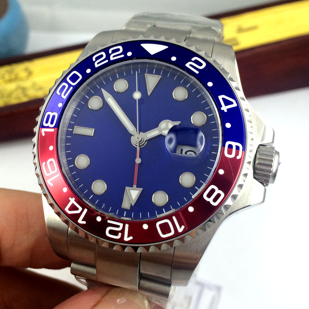 43mm Bliger Blue sterile Dial Sapphire Glass GMT Luminous Marks Deployment clasp Stainless steel Automatic Movement men\'s Watch