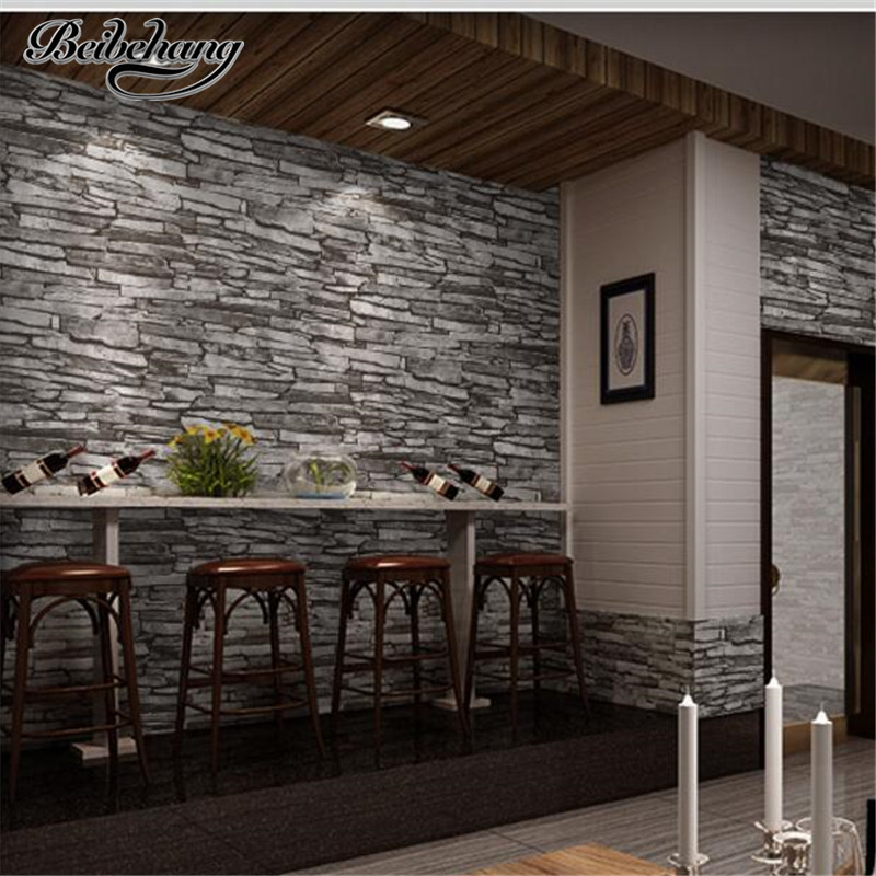 beibehang High-end stone imitation stone stone wall paper retro personality brick Chinese style living room wallpaper backgroun