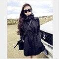 2017 Новая Мода Повседневная Тонкий Ветровка Плюс Размер Длинную Траншею пальто Высокое Качество Осенью И Зимой Черный С Капюшоном Женщин YY316