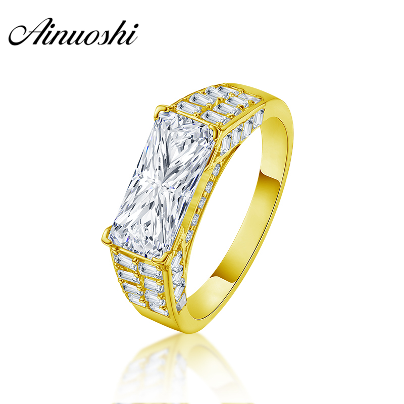 AINUOSHI Luxury 10K Solid Yellow Gold Men Band Rectangle Cut Delicate Ring Engagement Wedding Male Jewelry 3.8g Wedding Men BandAINUOSHI Luxury 10K Solid Yellow Gold Men Band Rectangle Cut Delicate Ring Engagement Wedding Male Jewelry 3.8g Wedding Men Band
