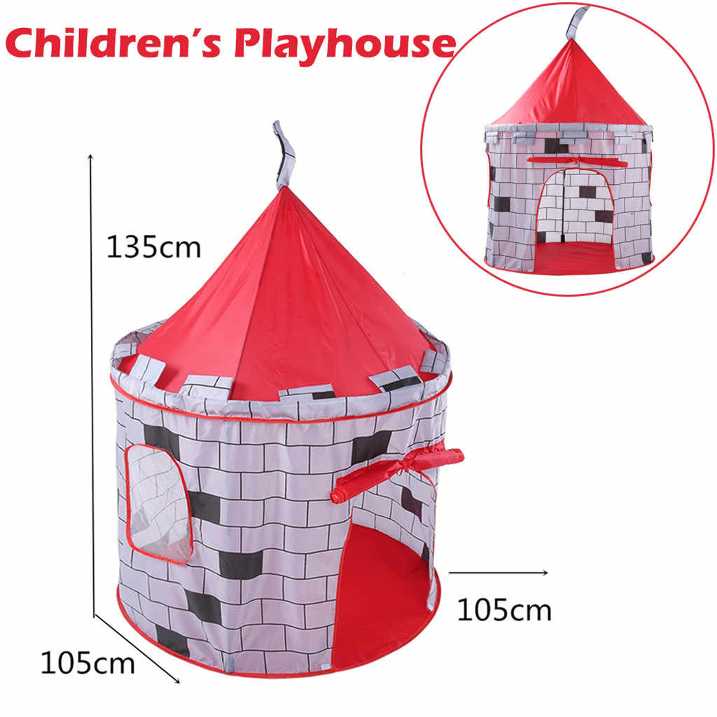 Kid Tent House Portable Princess CastleFolding Children Kids Play Knight Castle Tent In/Outdoor Toy House Boys Girls