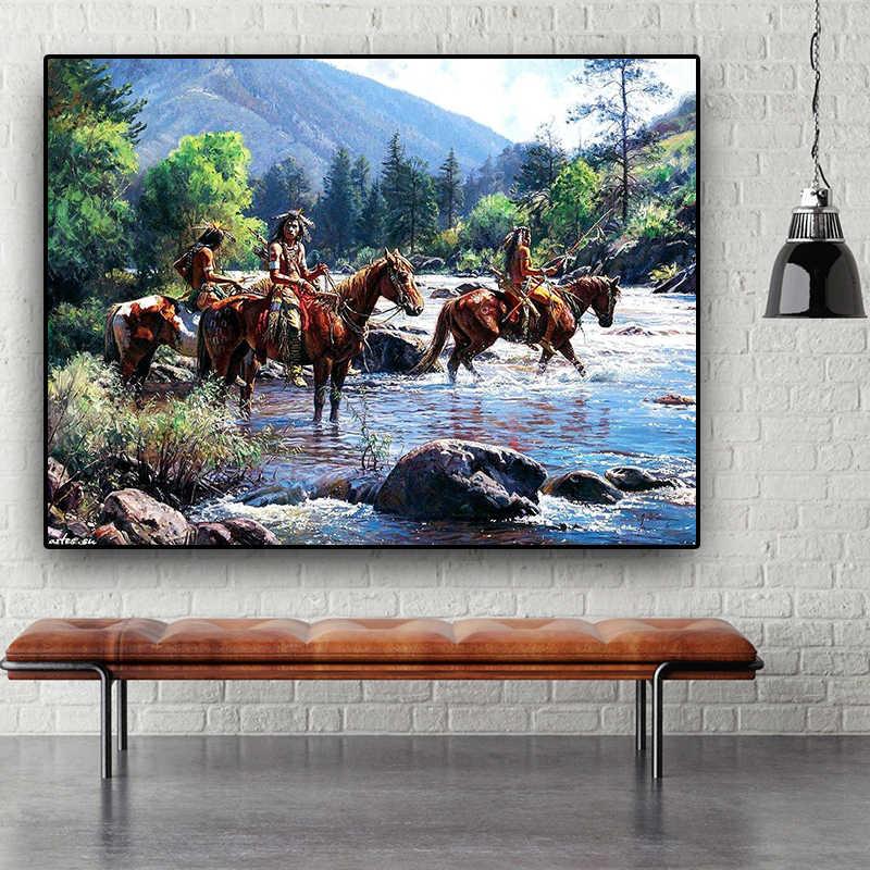 YWDECOR Cowboy Knight Herding the Cows Oil Painting HD Print