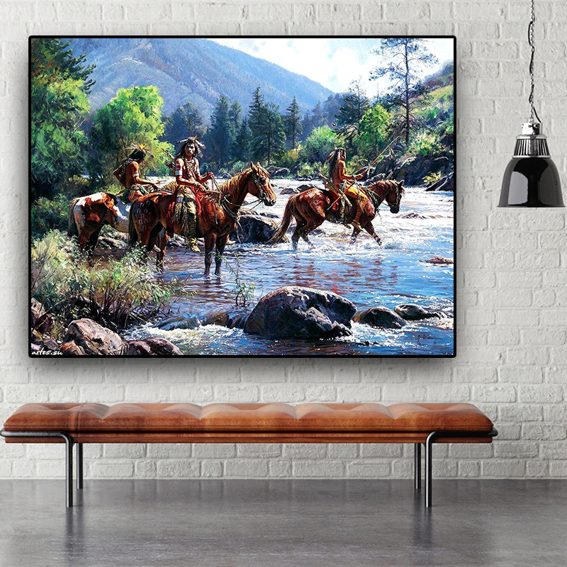 Native Indian Landscape Abstract Oil Painting on Canvas Posters and Prints Cuadros Wall Art Picture for living room(China)